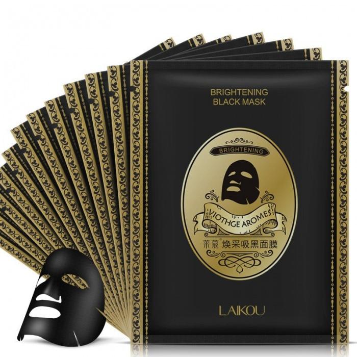 Маска для лица черная с бамбуковым углем Laikou