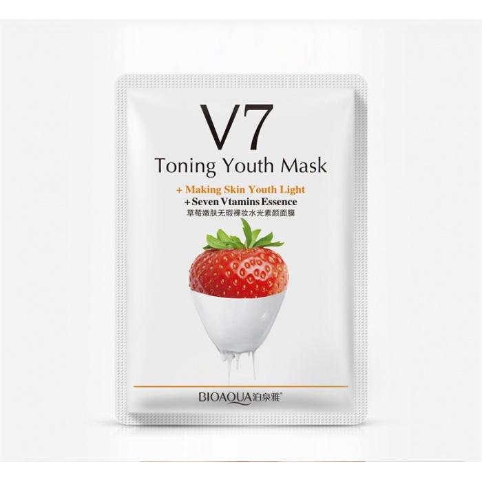 Маска для лица клубника с витаминами V7 Bioaqua