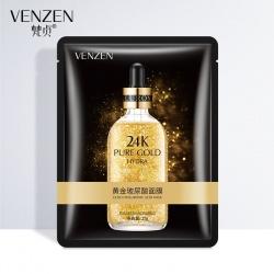 Маска для лица увлажняющая с гиалуроновой кислотой и золотом 24K Gold Venzen