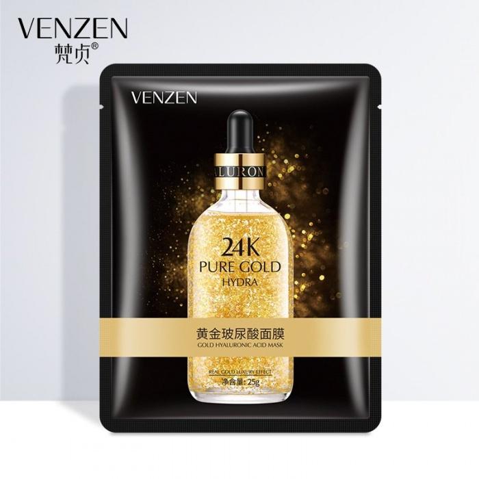 Увлажняющая маска для лица с гиалуроновой кислотой и золотом 24K Gold Venzen